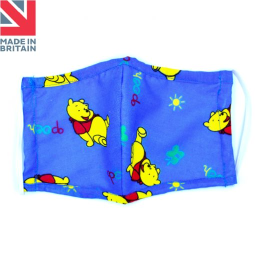 Washable Child (kids) Face Mask Pooh Blue Open