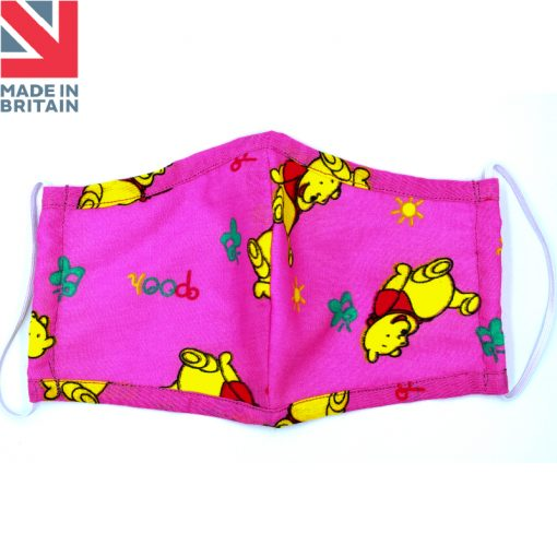 Washable Child (kids) Face Mask Pooh Pink Open