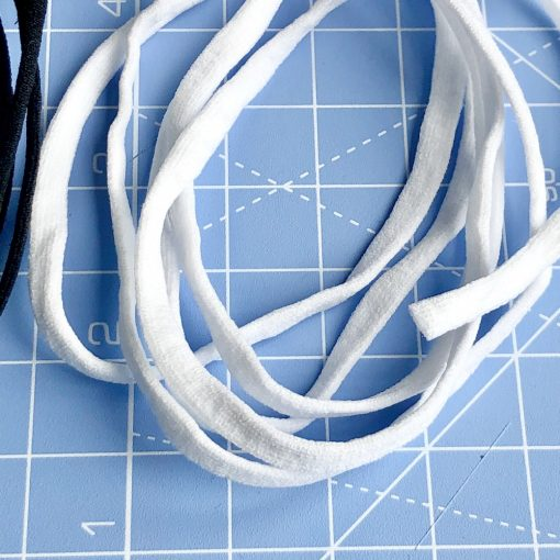 Soft elastic cord 3 – 4mm thickness 1m White Close up