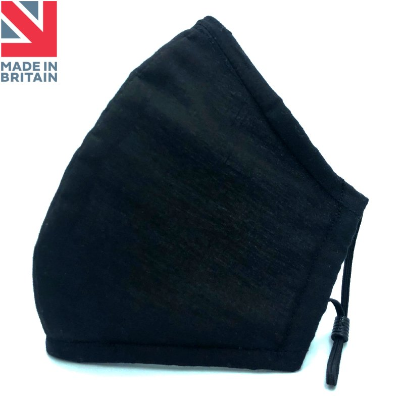 Unisex Reusable & Washable Face Mask Black Made in Britain