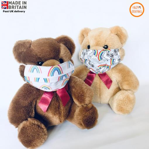Kids face masks on teddy rainbows and unicorns