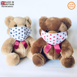 Kids face masks on teddy red and navy stars