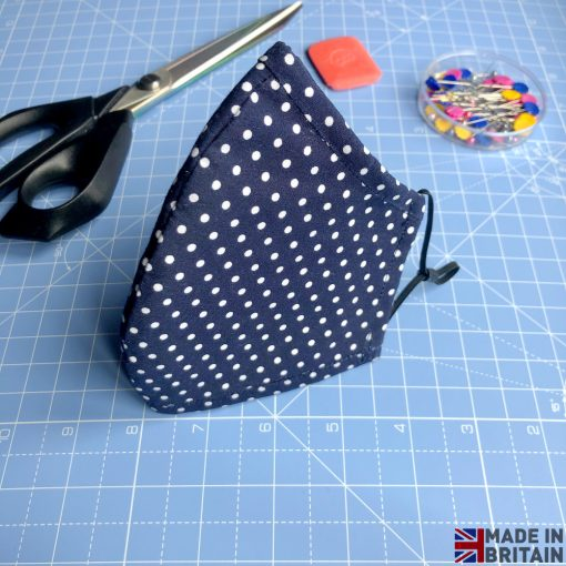 Unisex Washable & Reusable Face Mask Navy Blue Dotted