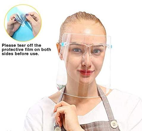 Reusable Face Shield Wearing Glasses Transparent Anti-Fog Visor Removable Film
